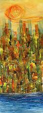 "CUBAN ART**Mirelys**Cielo Dorado**ORIGINAL 19.75x7.25"""