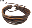 Mens Handmade Leather Braided Surfer Wristband Bracelet Bangle Wrap offer brown