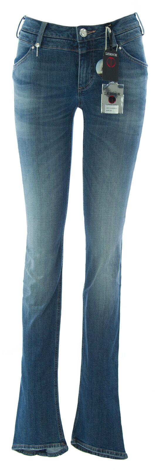 Lerock Donna Blu Medio Slavato Slim Fit Gamba Dritta Denim Denim Denim Jeans 71bfae