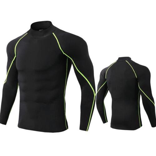 Men/'s Compression Shirt Mock Neck Long Sleeve Moisture Wicking Base Layer Plain