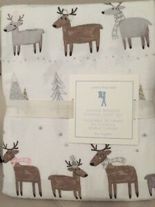 3pc Pottery Barn Kids Winter Reindeer Flannel Sheets Set