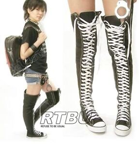 48c64845e4b6 Image is loading RTBU-PUNK-EMO-KNEE-THIGH-HI-CANVAS-SNEAKER-