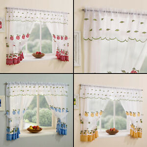Details about WINCHESTER KITCHEN WINDOW SET CHECK CURTAINS & TIE BACKS &  VALANCE RED YELLOW