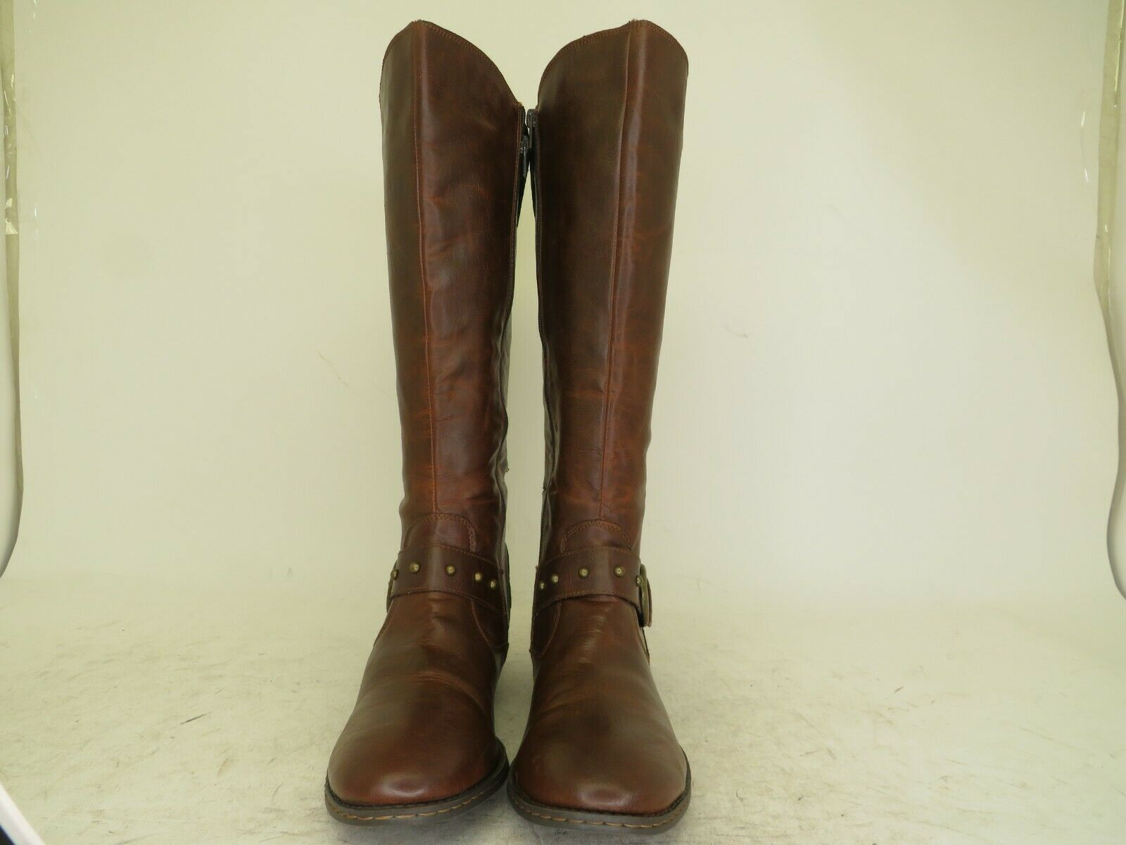 Born Brown Faux Leather Zip Buckle Studded Fashion Knee High Boots Size 9.5 M