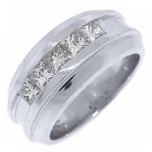 MENS-1-54-CARAT-PRINCESS-SQUARE-CUT-DIAMOND-RING-WEDDING-BAND-14KT-WHITE-GOLD