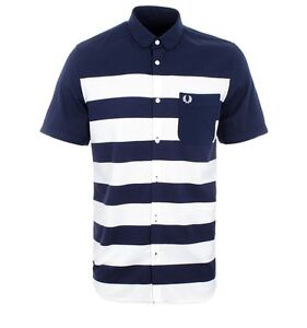 Fred-Perry-Pique-Stripe-Men-039-s-Short-Sleeve-Shirt-In-Blue-Granite-Small-M6705-226