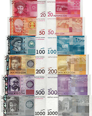 Kyrgyzstan Banknote P24-29 Set 20-50-100-200-500-1000 Som UNC 2009-10