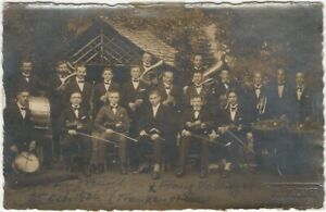 1926-German-Orchestra-in-a-Woodland-Park-w-Cabin-Real-Photo-Postcard