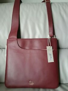 Radley-Leather-039-Pockets-039-Crossbody-Messenger-Shoulder-Bag-Zip-Around-Burgundy-L