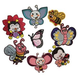Butterfly-bees-embroidered-iron-sew-on-patch-motif-applique-badge-baby-animal