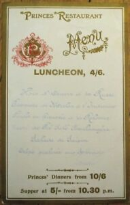Menu: French 1900, Princes Restaurant 'Luncheon' - 'Hors d'Oeuvre a la Russe'