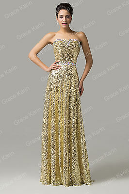 GOLD SEQUIN GRECIAN LONG STRAPLESS CLUB EVENING COCKTAIL FITTED DRESSES UK 6 -20