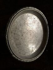 """16"""" Antique Silver Tea Tray Footed Rustic Engraved Carved Moroccan Star Monogram"""