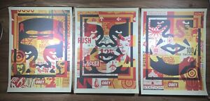 Shepard-Fairey-Obey-Giant-Icon-Face-Collage-Art-Print-Poster-SET-Of-3-Signed