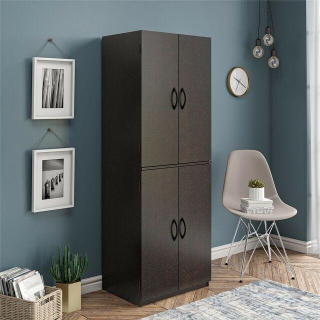 Corner Kitchen Cabinet Storage Pantry Black Tall Bathroom Cupboard