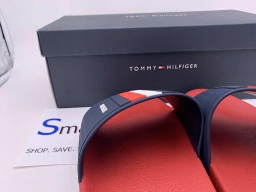 NEW SIZE 12-13 MEN Tommy Hilfiger Logo USA Slides Sandals Slipper RED WHITE BLUE
