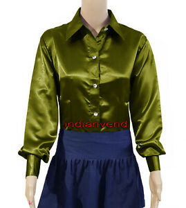 Olive-Green-Satin-Button-Down-Style-Solid-Collar-Long-Sleeve-Shirts-Blouse-Top