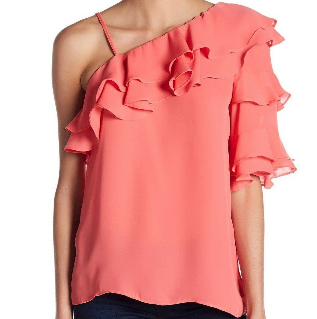 NWT PARKER SzS ONE SHOULDER RUFFLE SHORT SLEEVE BLOUSE TOP APRICOT