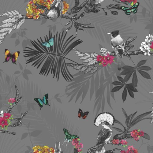 Tropical Birds Mystical Forest Floral Wallpaper White Sparkling Glitter Arthouse