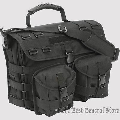 Black Tactical MOLLE Briefcase 600d Construction with Laptop Bag Shoulder