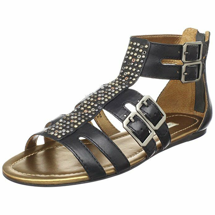 Cynthia Vincent Brea Ankle Studded Gladiator Sandal Black Leather US Sz 6 M  295