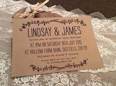 Vintage/Rustic/Shabby Chic 'Lindsay' kraft brown Wedding invitation & Env