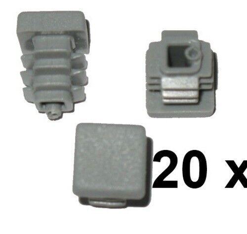 0.13€// 20 x Lamellenstopfen Vierkantrohrstopfen 10 x 10 mm Außen Stopfen GRAU