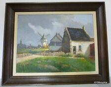 Huile sur toile BATZ sur Mer Moulin Tableau signé E lesaout  HST