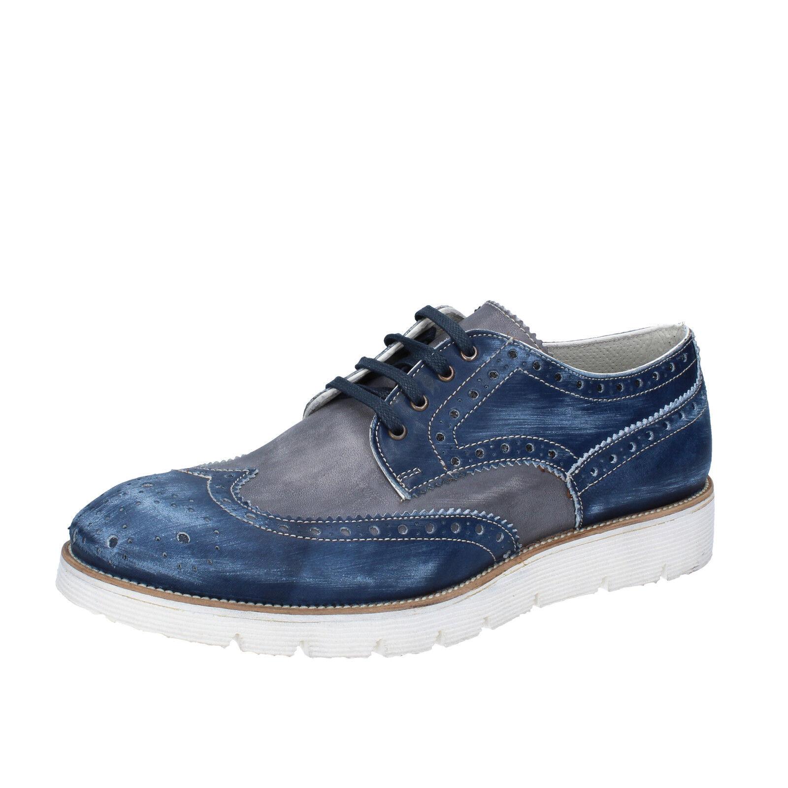 Herren schuhe +2 MADE IN ITALY 40 elegante blau grau leder BZ455-B