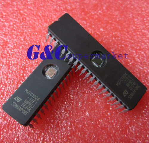 ST IC EPROM UV 1MBIT 120NS 40CDIP NEW Quality D53 10PCS M27C1024-12F1 27C1024