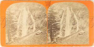 Francia Auvergne Cascade Da Queureilh, Foto Stereo Vintage Albumina PL62L7