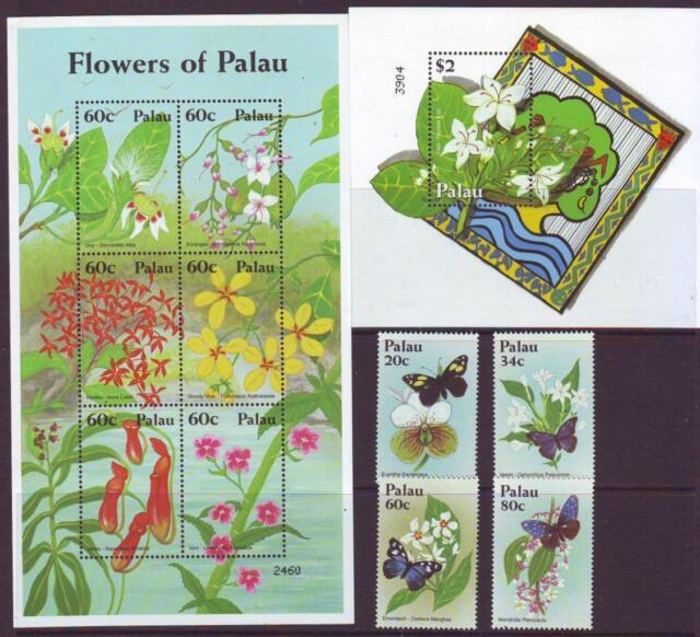 PALAU 2012 FLOWERS SET 4 + SHEETLET 6 + MINISHEET Part 1  MINT NEVERHINGED