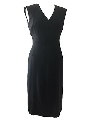 Womens Austin Reed Signature Black Wool Blend Midi Shift Dress Size 12 Office Ebay