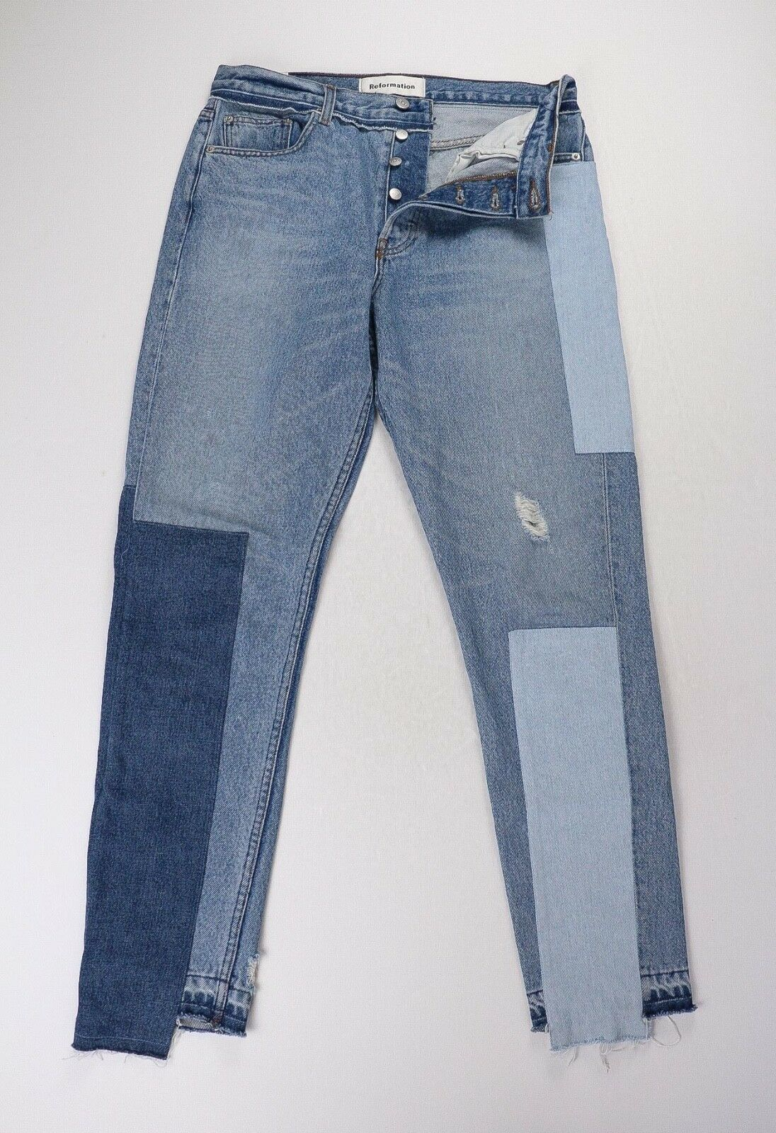 Reformation Skinny Patch Torres Wash Denim Jeans 29 x 29 SOLD OUT