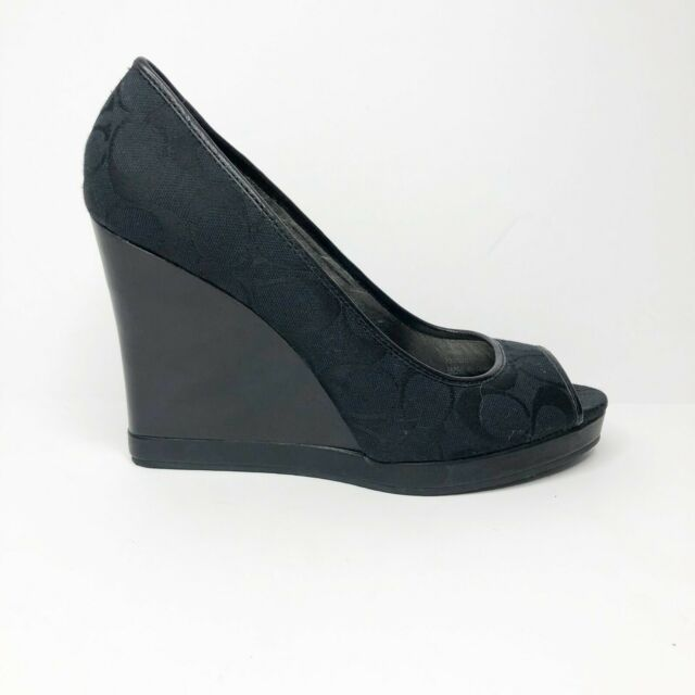 Coach Women's Black Tabby Wedges Sandals Shoes Size 9.5M Peep Toe Fabric Leather
