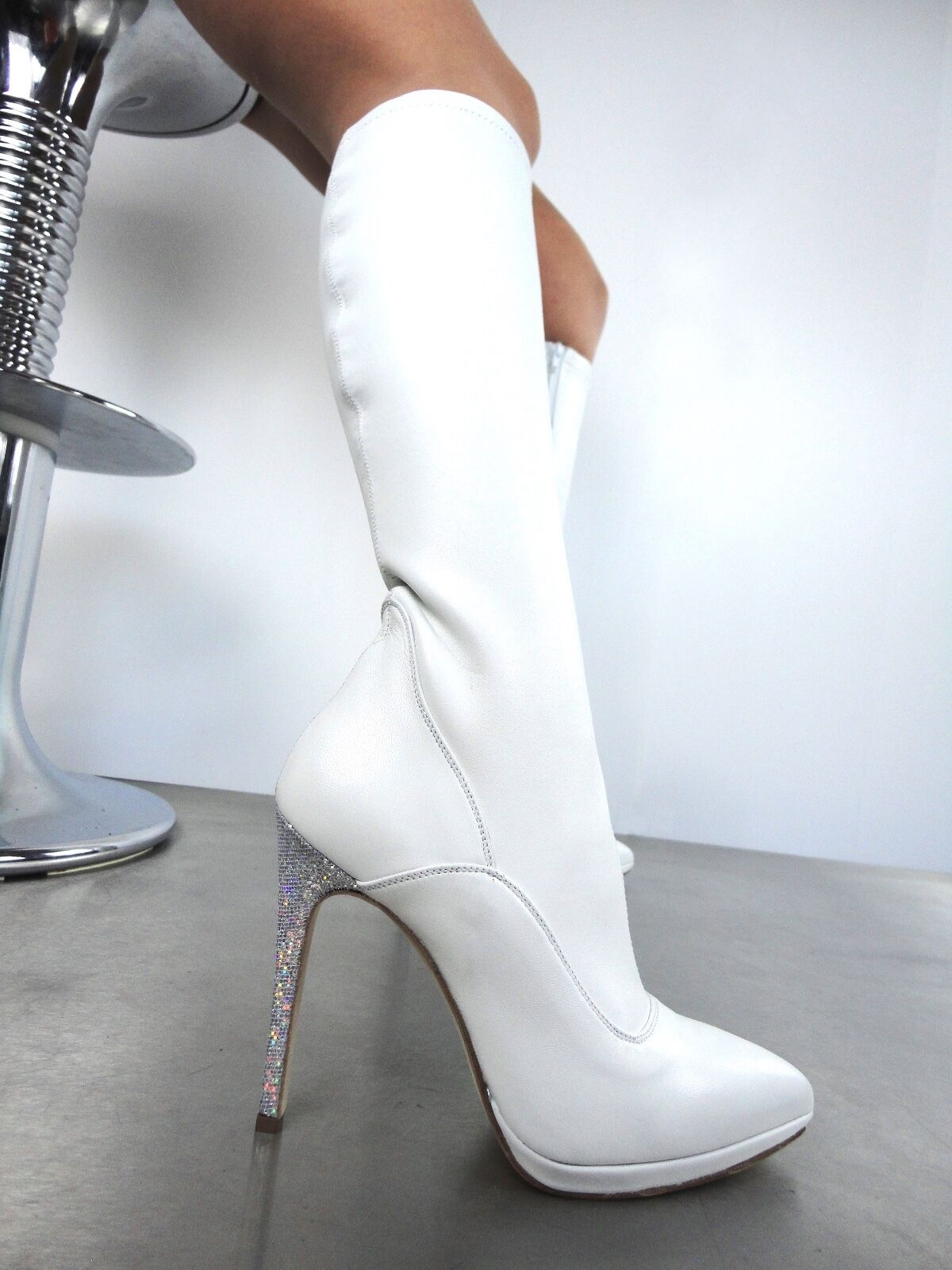 GIOHEL ITALY KNEE HIGH HEELS BOOTS STIEFEL STRETCH STIVALI REAL STRETCH STIEFEL PELLE BIANCO 43 f19f10