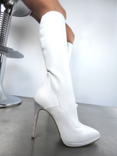 Real Giohel Knee Pelle Stivali Italy Heels Bianco Stretch High Stiefel Boots 43 70Sx60Tqw