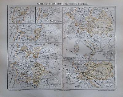 GESCHICHTE ÖSTERREICH-UNGARN 1896 historische Karte Antique Map Osztrák-Magyar