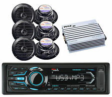 "400W Amplifier,6 Black 6.5"" Boat Speakers& BOSS Marine USB Bluetooth iPod Radio"