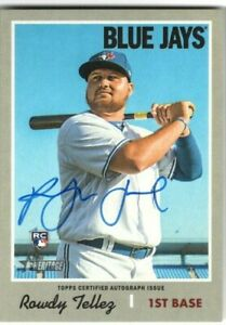 ROWDY-TELLEZ-2019-Topps-Heritage-High-Number-ROOKIE-AUTO-AUTOGRAPH-BLUE-JAYS-RC