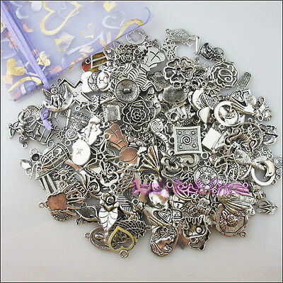 200Pcs New Mixed Lots of Silver Tone Charms Wholesale Pendants
