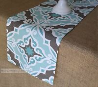 Aqua Turquoise Blue Table Runner Home Decor Linens Table Centerpiece Dining