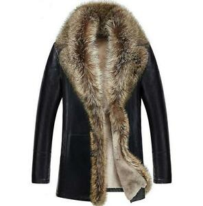 British Men s Real fur collar 2 Style leather jacket trench outwear ... c1f18ddf3b