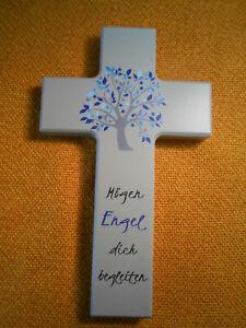 Details Zu Kinderkreuz Mit Spruch Holzkreuz Kreuz Motiv Lebensbaum Blau Taufe Kommunuin