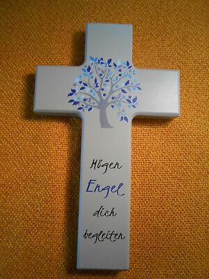 Kinderkreuz mit Spruch Holzkreuz Kreuz Motiv Lebensbaum rosa Taufe Kommunion