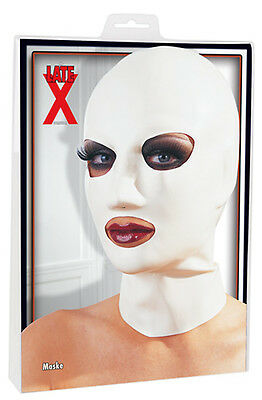 MASK LATEX GERMANY .4MM THICK EYE /& MOUTH OPENING SM NOSE HOLES WHITE ONE SIZE