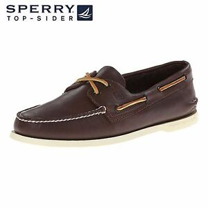 Men-039-s-Sperry-Top-Sider-Original-A-O-2-Eye-Chaussures-Bateau-en-cuir-marron-toutes-tailles-NEW-IN