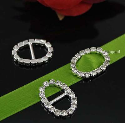 10 Pcs Oval Shiny Diamante Crystal Rhinestone Buckle Slider Invitation Ribbons