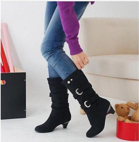 Chaussures Femme Bottes Mi-Mollet Chaton Talons Romain Boucle Métallique Moto Chaussures P439