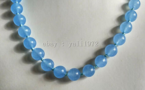 AAA 12MM blue jade necklace 18 inch Magnet clasp